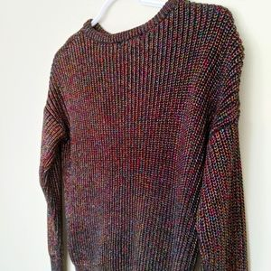 American Apparel Sparkley Black Rainbow Sweater Tinsel knit Small crew neck